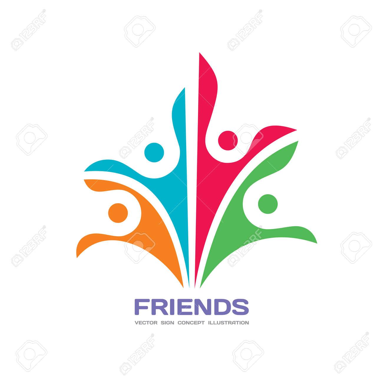 Amigos Vector Logo Plantilla Concepto Ilustración Signo Abstracto