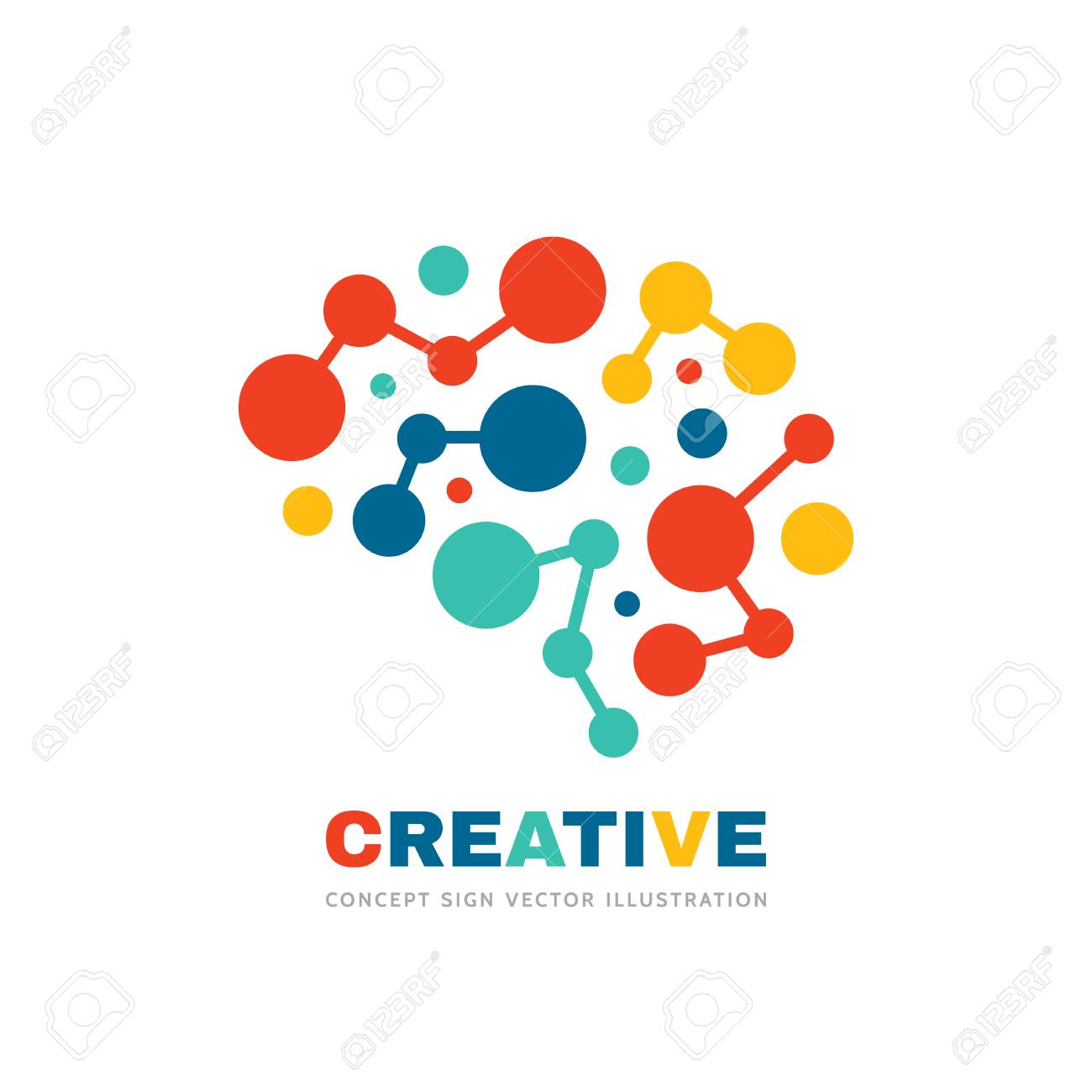 Creative idea - business vector logo template concept illustration. Abstract human brain sign. Geometric colored structure. Mind education symbol. Graphic design element. - 120552238