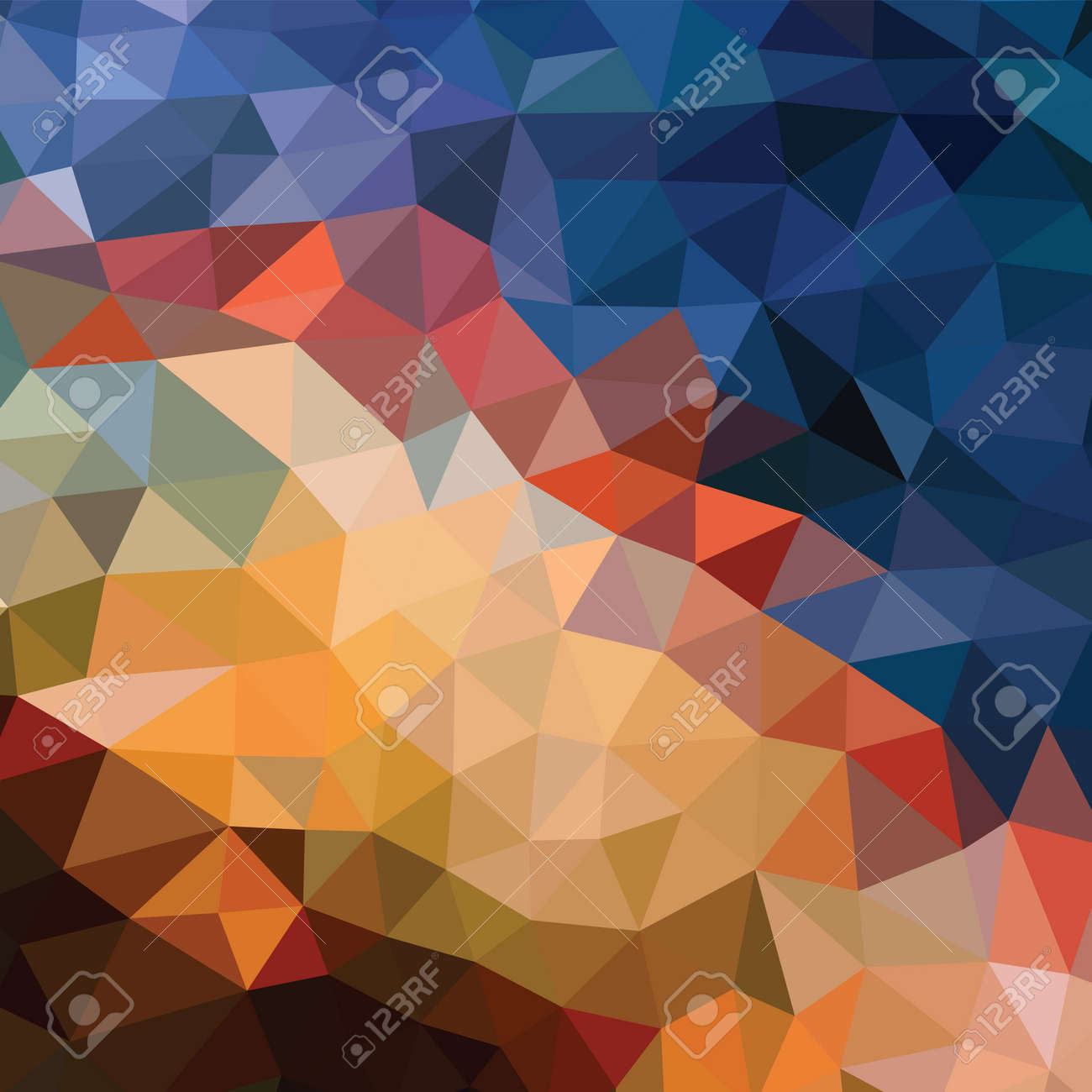 Polygonal abstract background - vector pattern in orange, brown, beige, blue colors. Geometric backdrop. Web site wallpaper. - 128889045