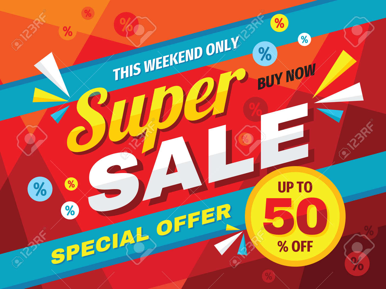 Super sale horizontal banner design. Abstract promotion discount up to 50% off poster. Special offer, this weekend only, buy now. Advertising decorative vector layout. Clearance retail tag. Marketing. - 154419860