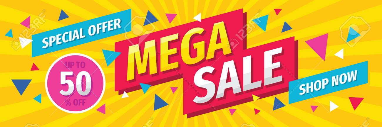 Mega sale concept horizontal banner template design. Discount abstract promotion layout poster. Vector illustration. - 154419870