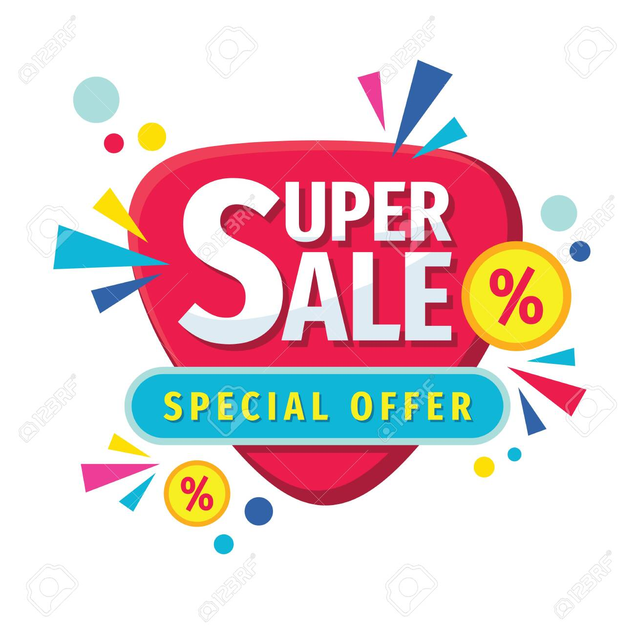 Super sale - concept banner vector illustration. Abstract discount percent promotion layout on white background. Special offer. Design elements. - 154419869