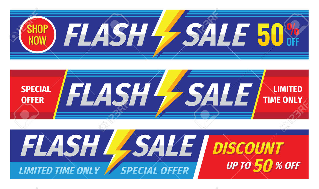Flash sale banner set. Discount up to 50% off. Graphic concept layout. Vector illustration. - 159011040