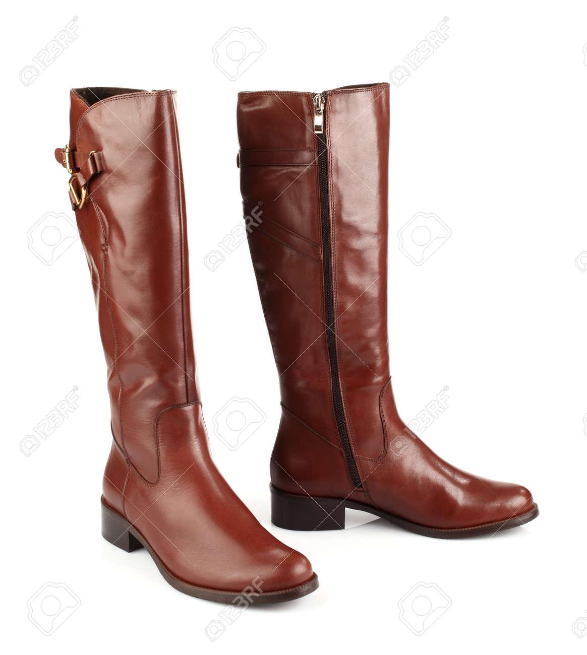 2019 mejor venta grandes ofertas 2017 nueva colección Botas de mujer de color marrón aisladas sobre fondo blanco