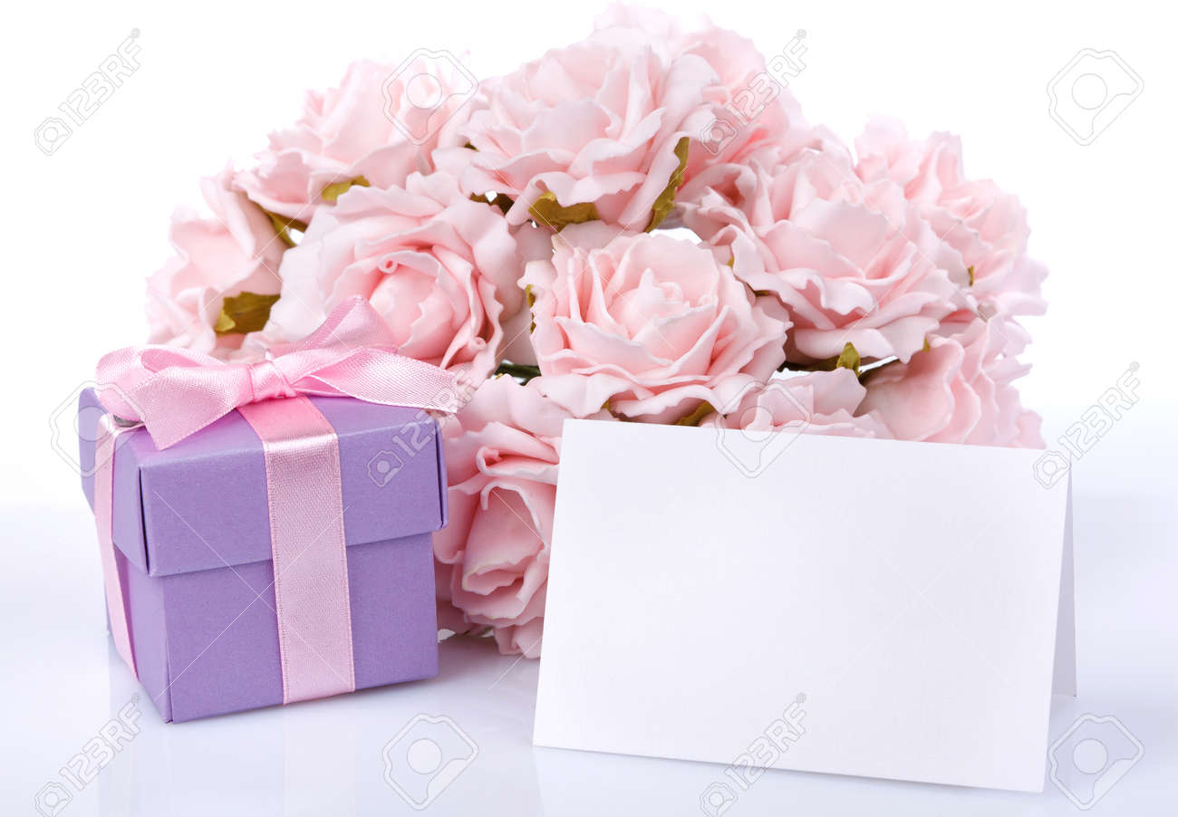 Greeting card with pink flowers and a purple gift box with ribbon and bow on a  sc 1 st  123RF.com & Greeting Card With Pink Flowers And A Purple Gift Box With Ribbon ...