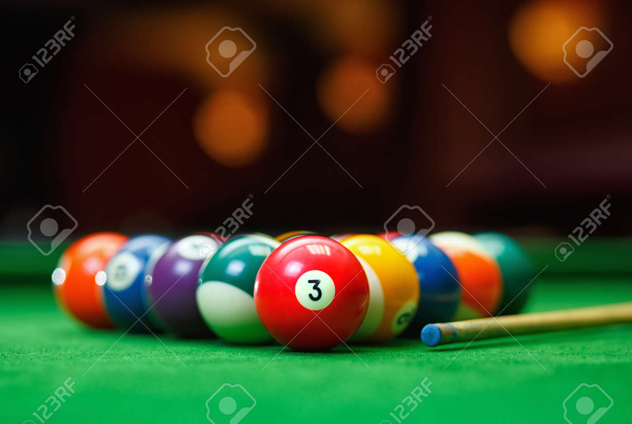 Billiard Balls In A Green Pool Table Game Stock Photo Picture And - How many balls on a pool table
