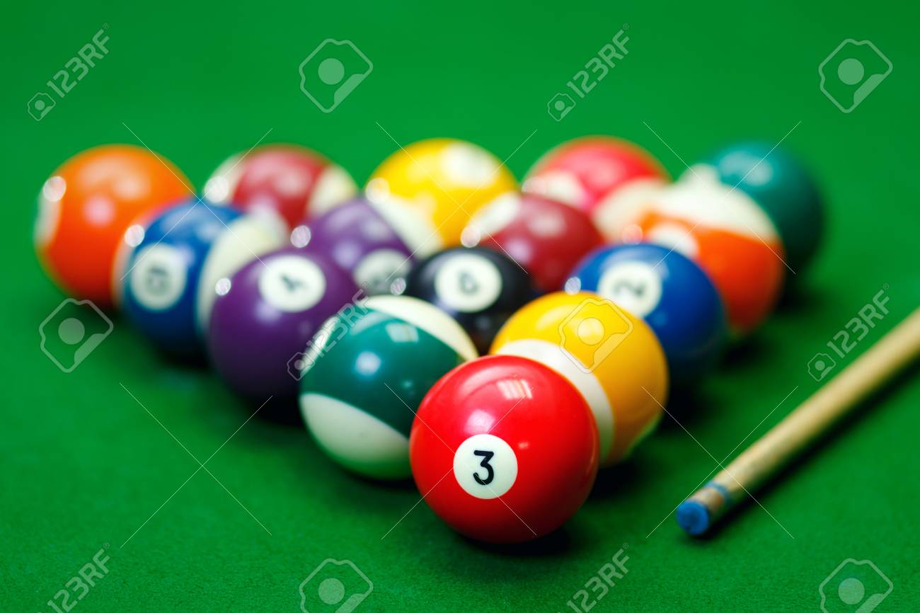 Billiard Balls In A Green Pool Table, Game Stock Photo   59925766