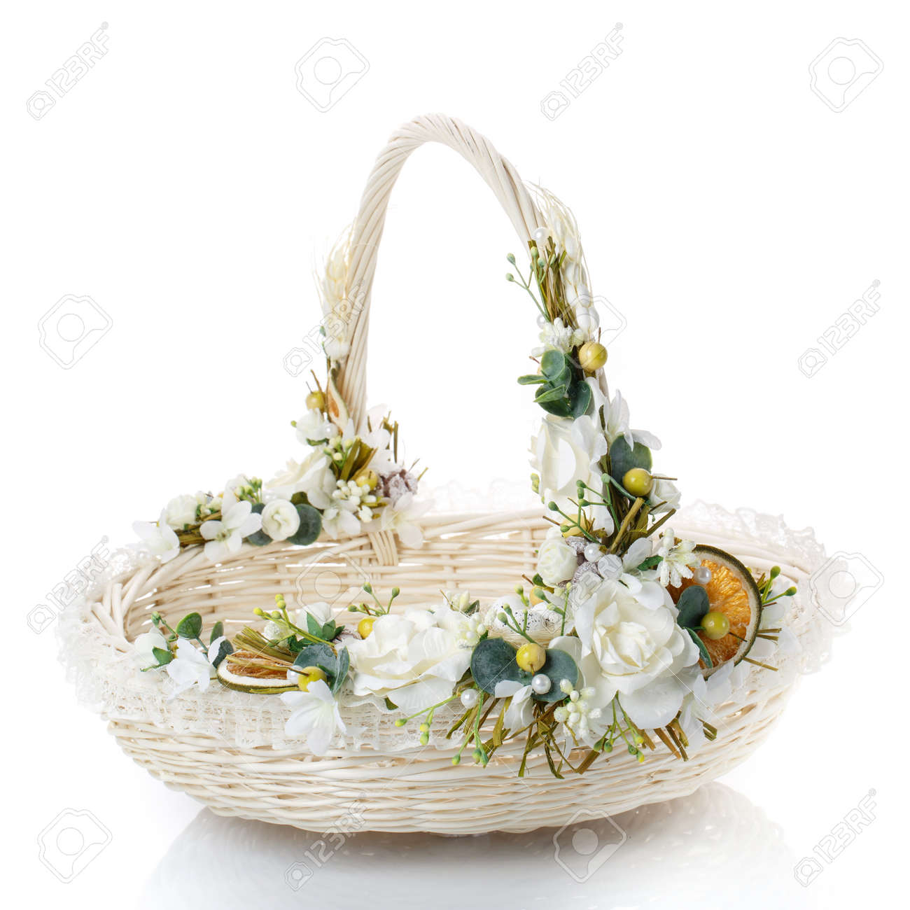 Beautifully decorated empty wicker basket on a white background beautifully decorated empty wicker basket on a white background stock photo 73137969 mightylinksfo