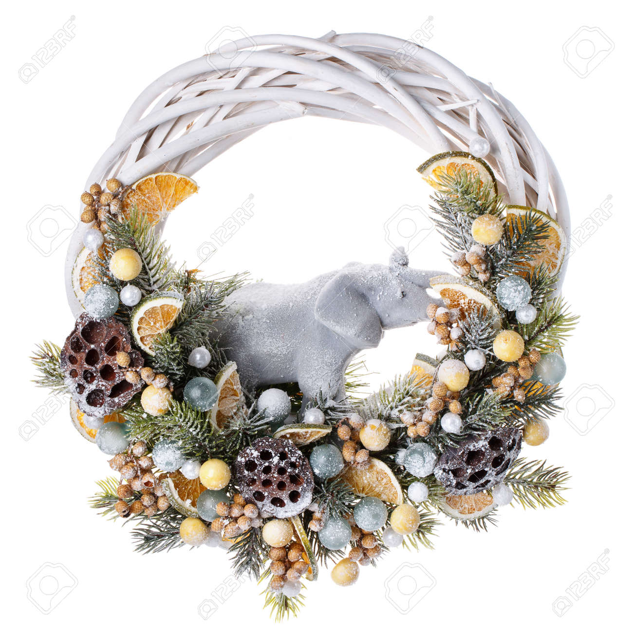 san francisco d1b4a c3017 Traditional christmas wreath isolated on white background. Decorative..