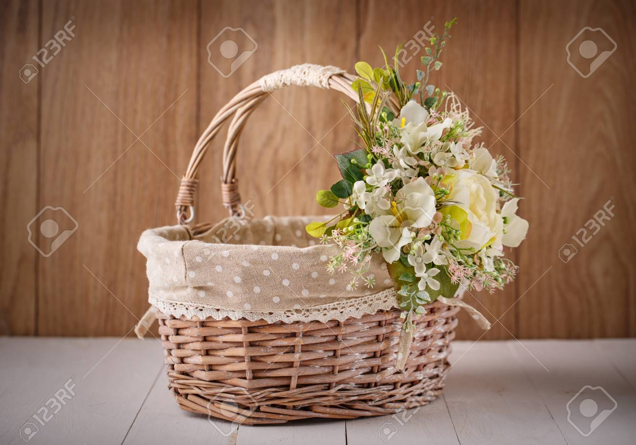 Basket Decorated Handmade Festive Basket Decorated With Flowers