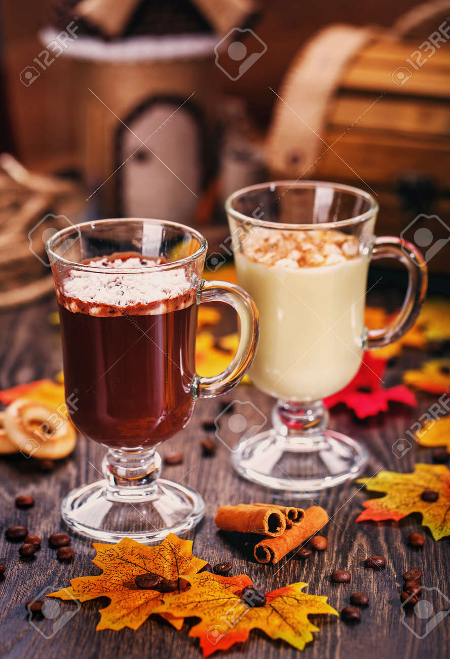 cfc6509200b Delicious desserts. Smoothies. Autumn scenery, dried maple leaves and coffee  beans. Tasty