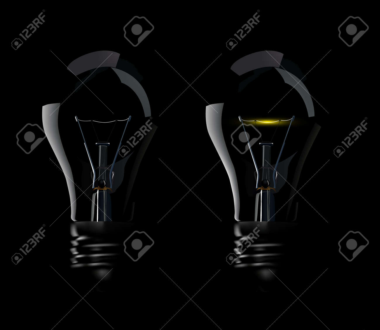 Photorealistic Vector Lamps on Black Background, no transparency Stock Vector - 5105066