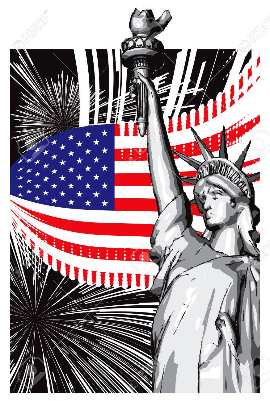 American Symbols Of Flag And The Statue Of Liberty Royalty Free