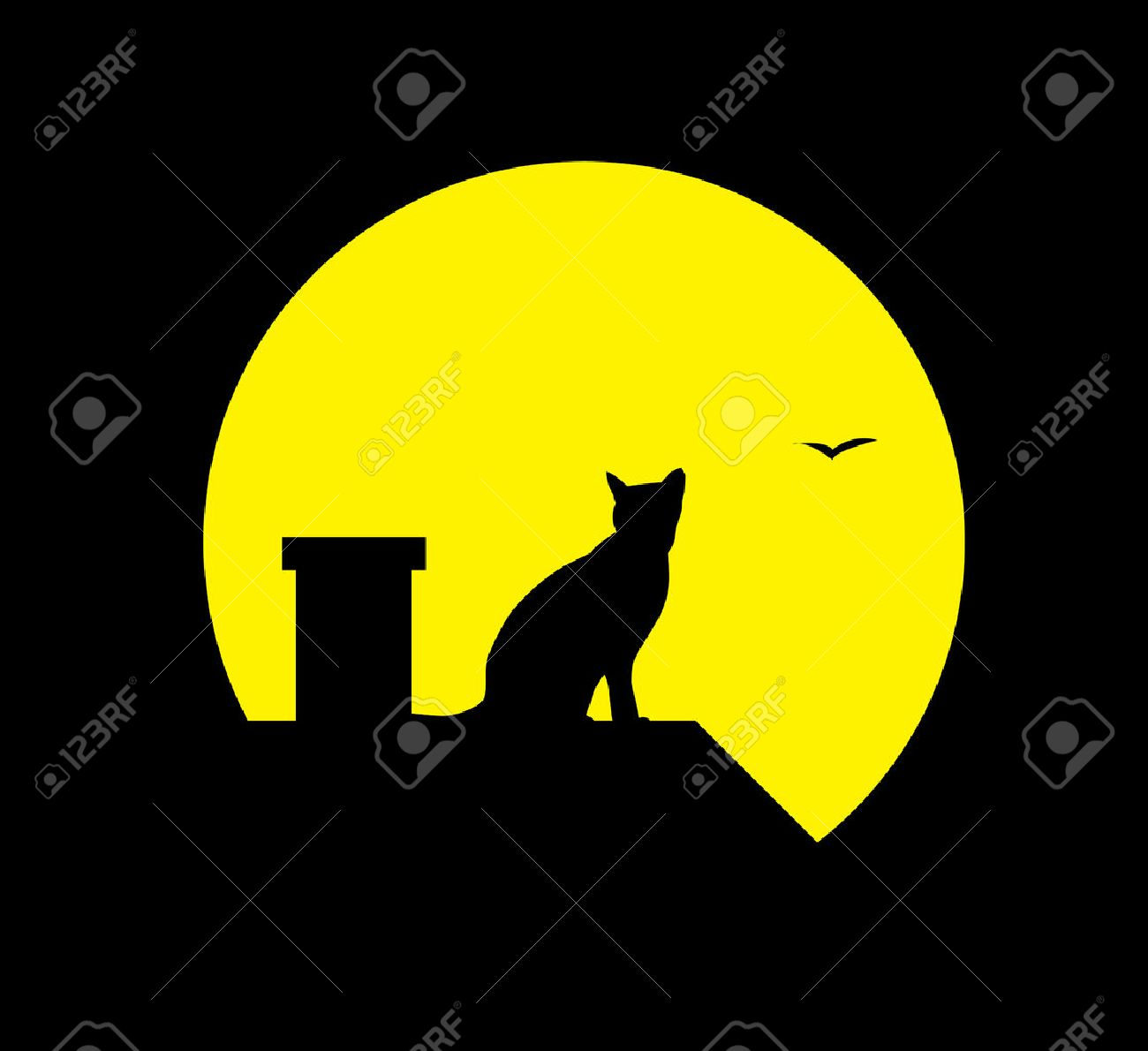 silhouette cat at the moon on black background Stock Vector - 6433960