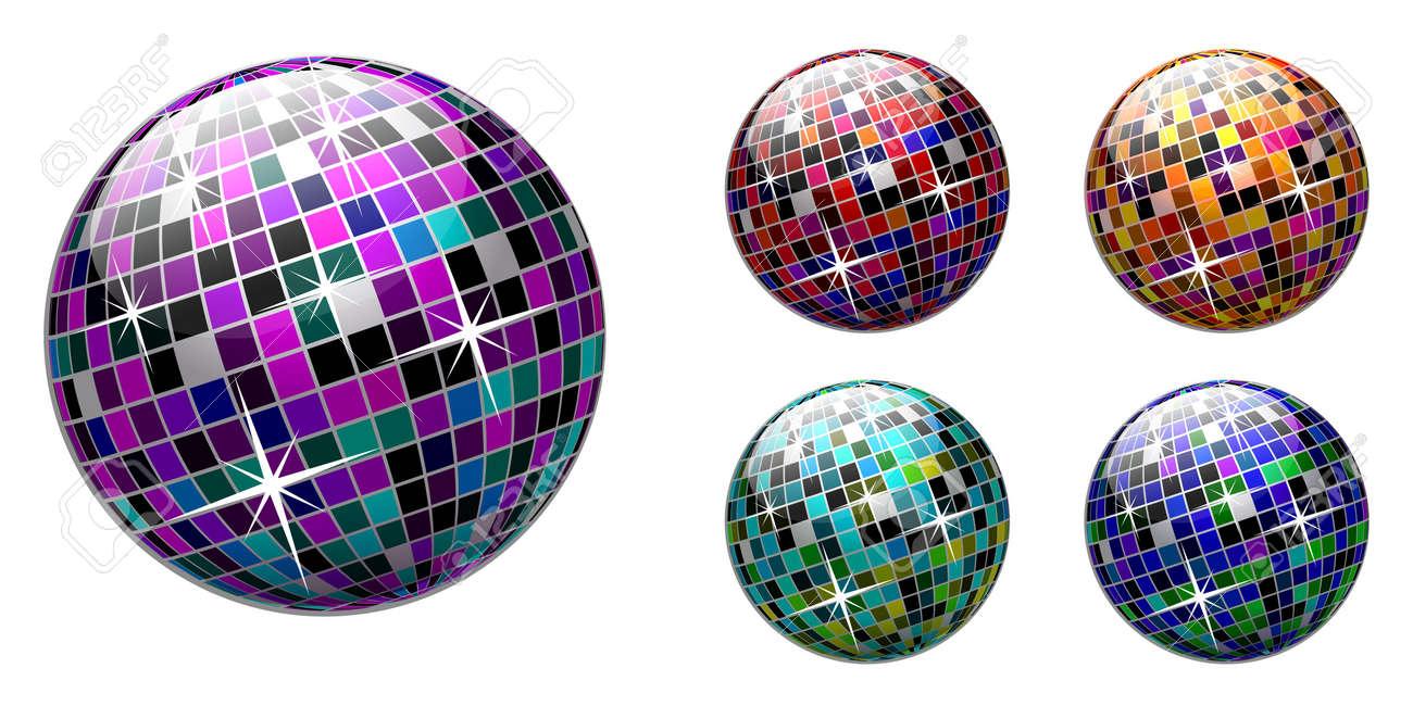 disco ball on white background. Multicolored version. Stock Vector - 6734879