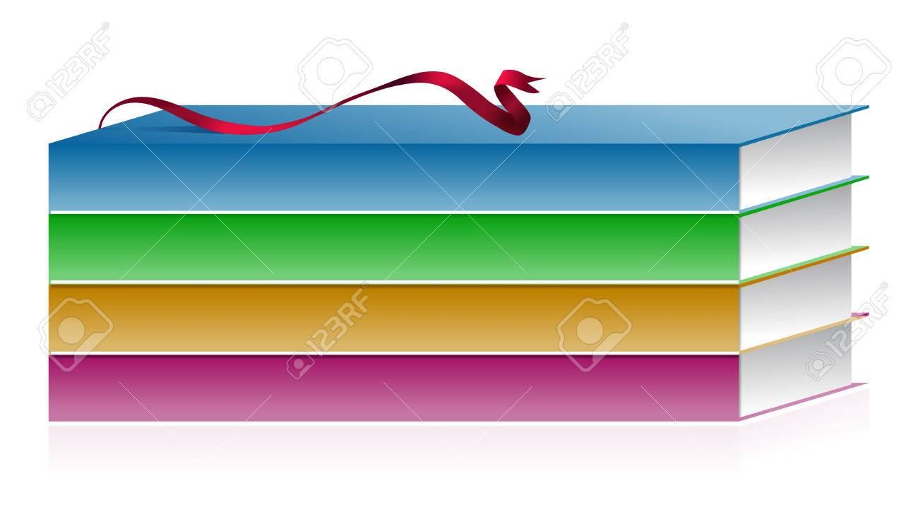 illustration of books with ribbon on white Stock Vector - 6795993