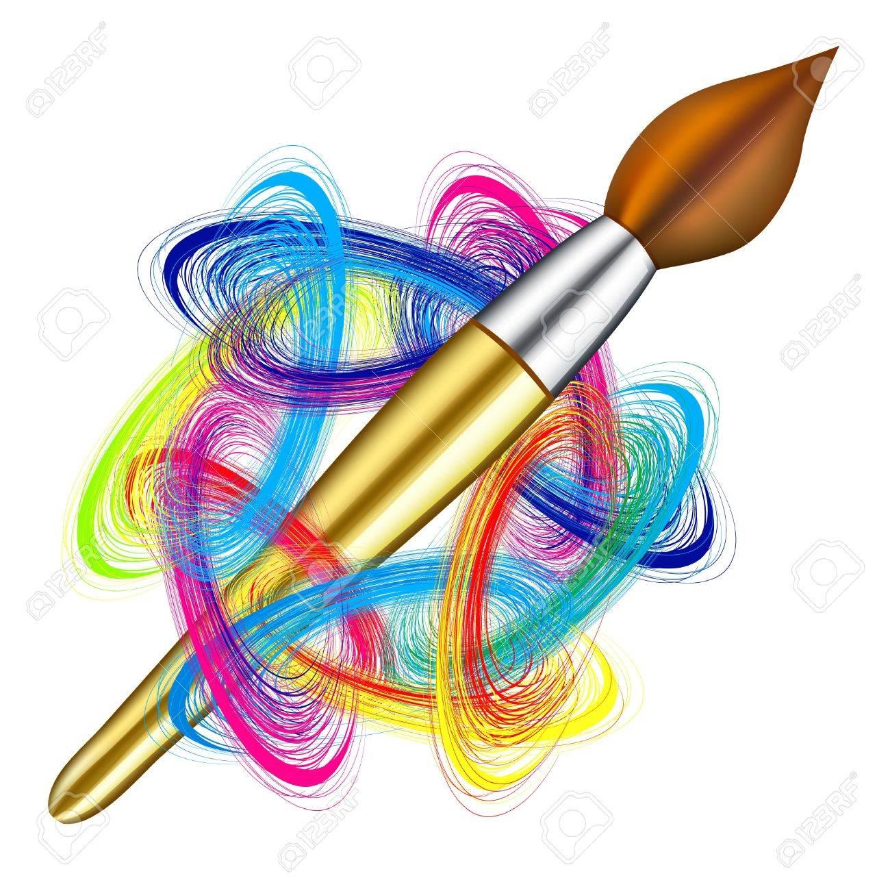 Vector artist's palette and brush on white background Stock Vector - 7102364