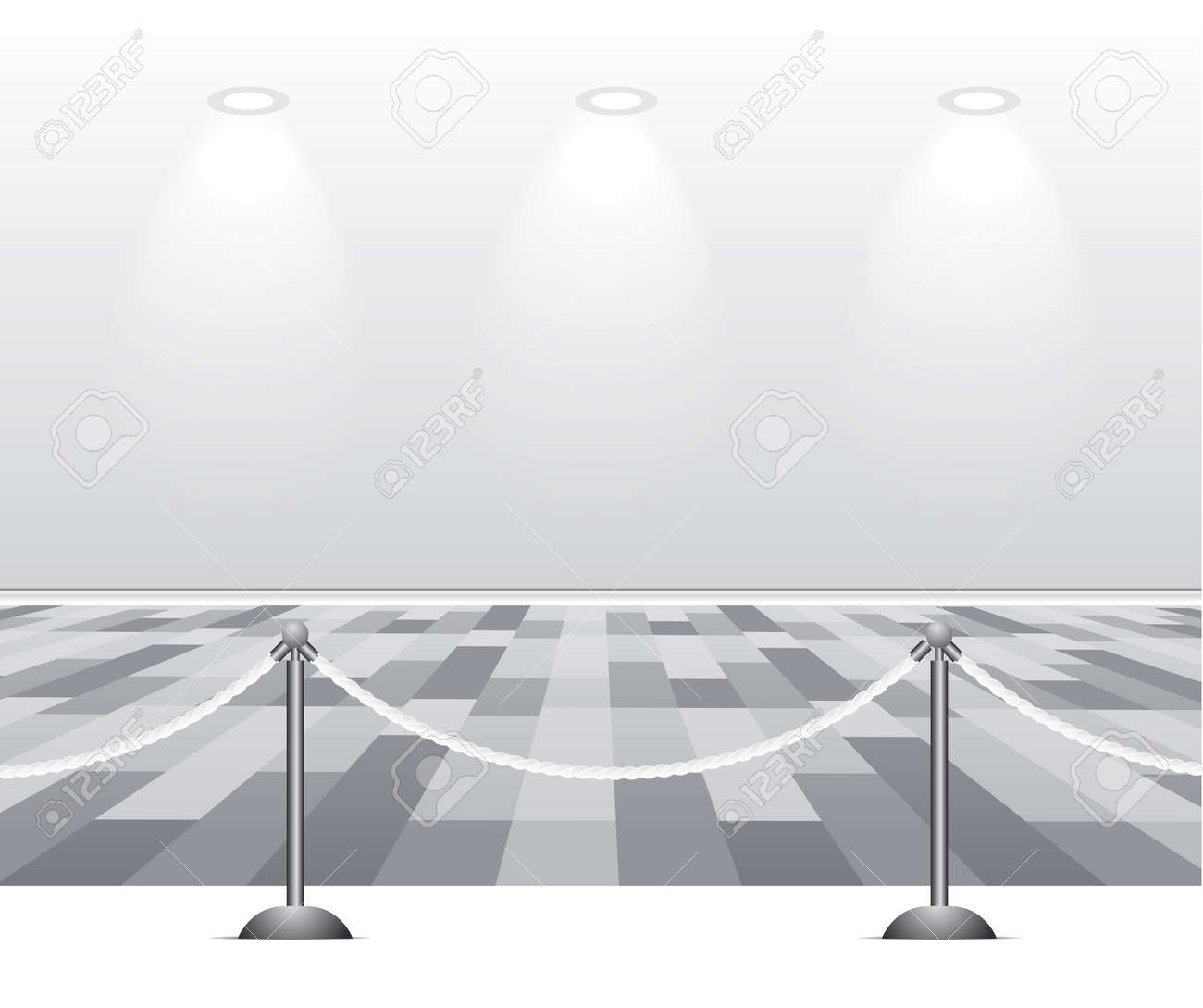 Empty white room with lamp on gray background Stock Vector - 8347223
