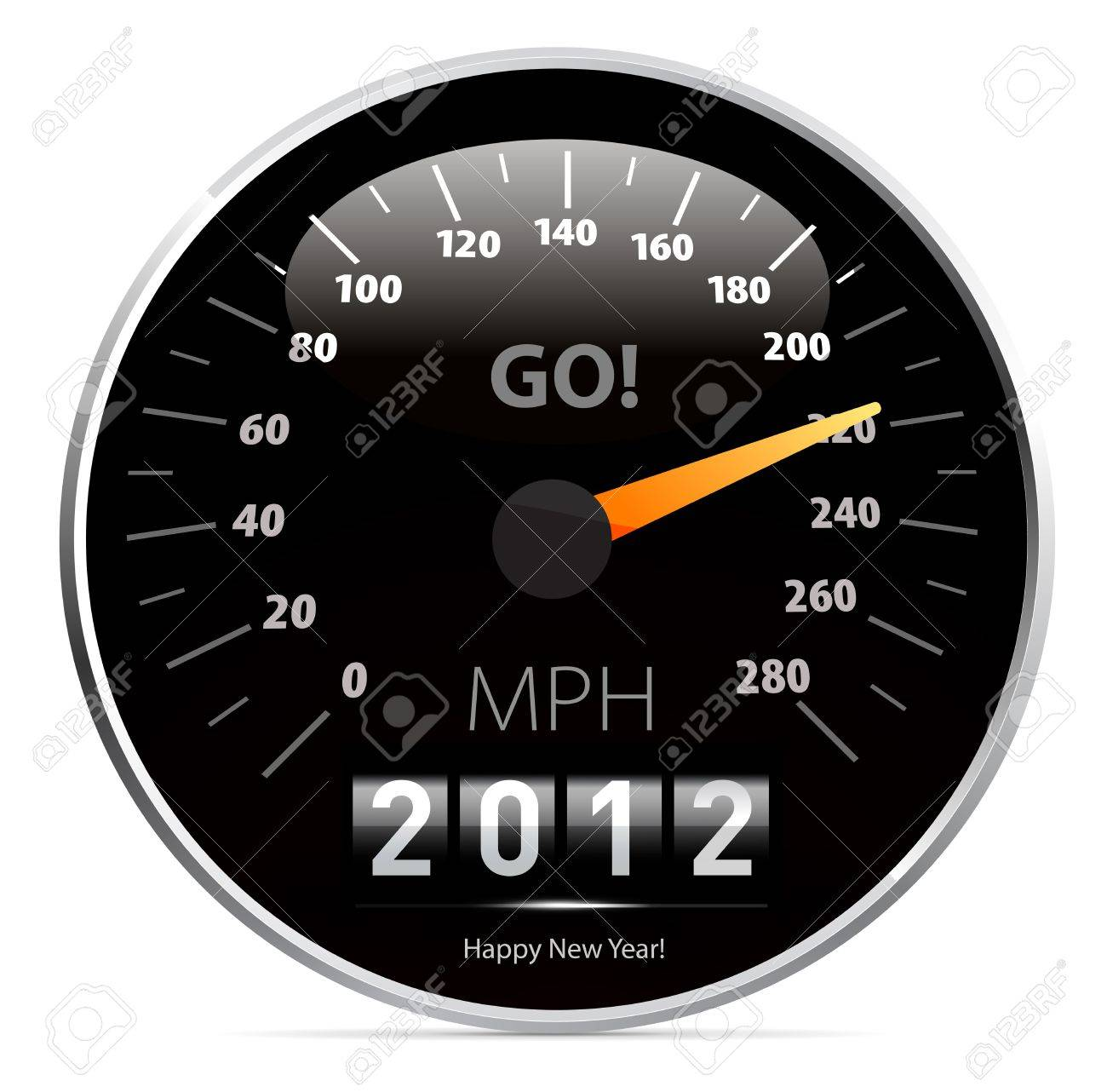 2012 year Calendar speedometer car Stock Vector - 10526026