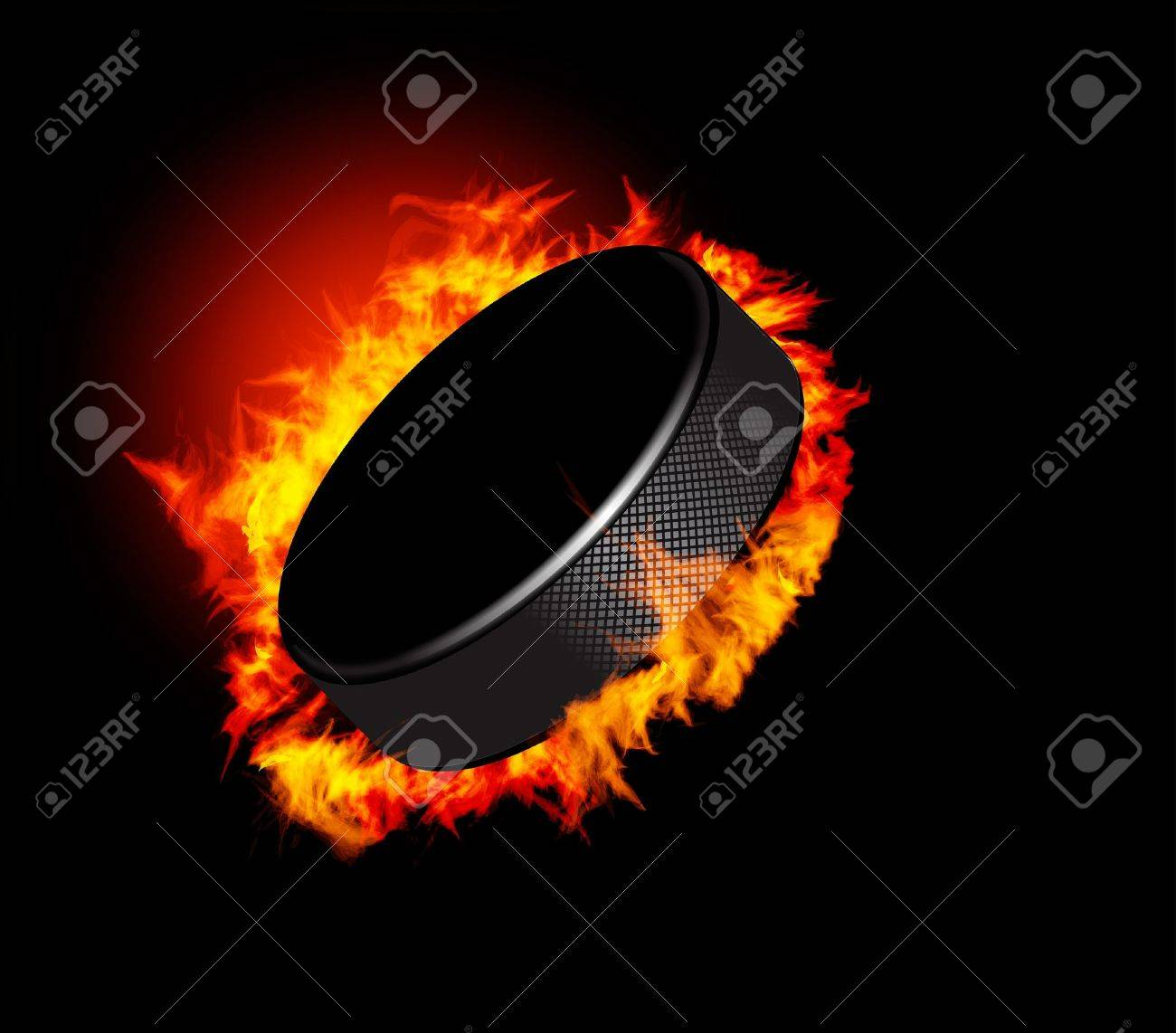 Hockey Puck in Fire isolated on Black Background. Vector. Stock Vector - 10954692