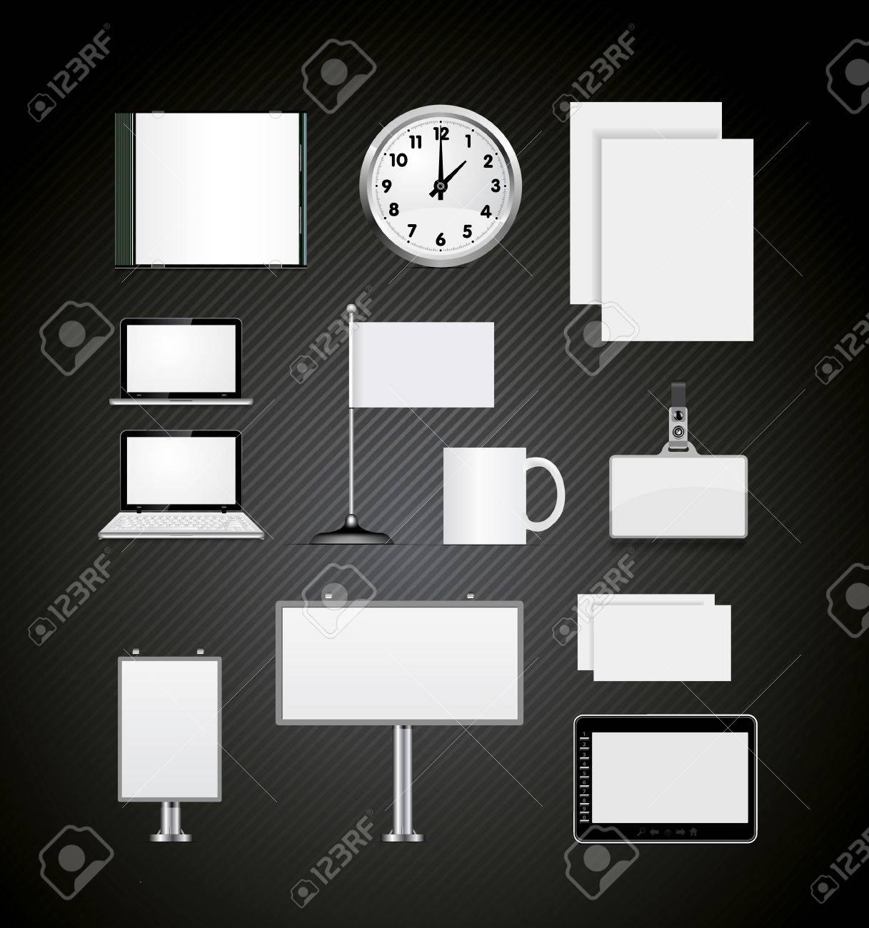 Set of corporate identity templates vector illustration on black Stock Vector - 12781759