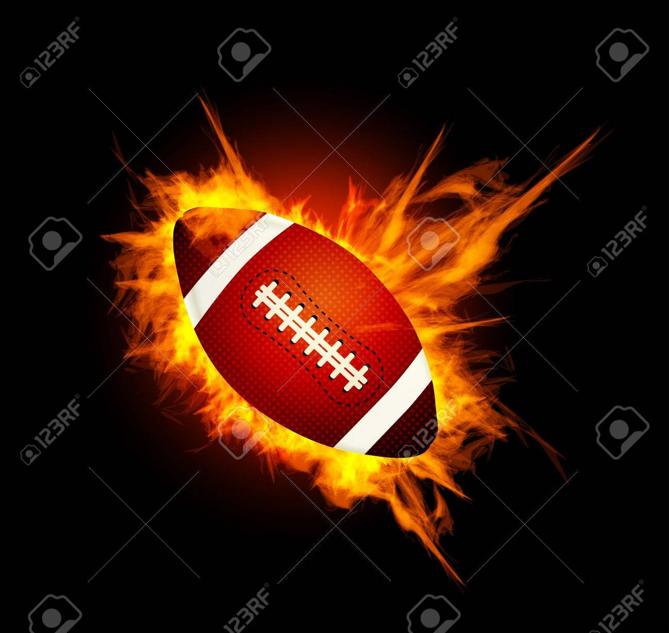 Realistic American football in the fire Stock Vector - 13126469