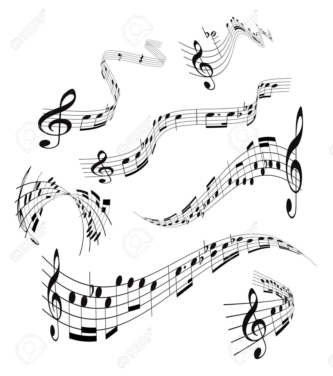Musical notes staff background on white vector by tassel78 image - Sheet Music Set Of Musical Notes Staff Illustration