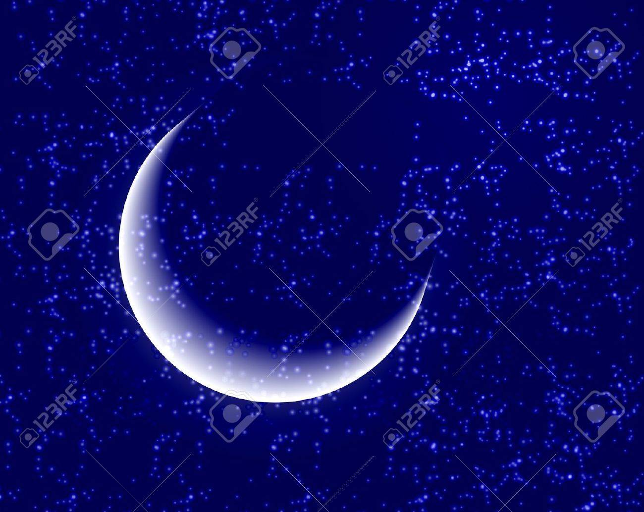 Space background with bright stars and moon Stock Vector - 14164708