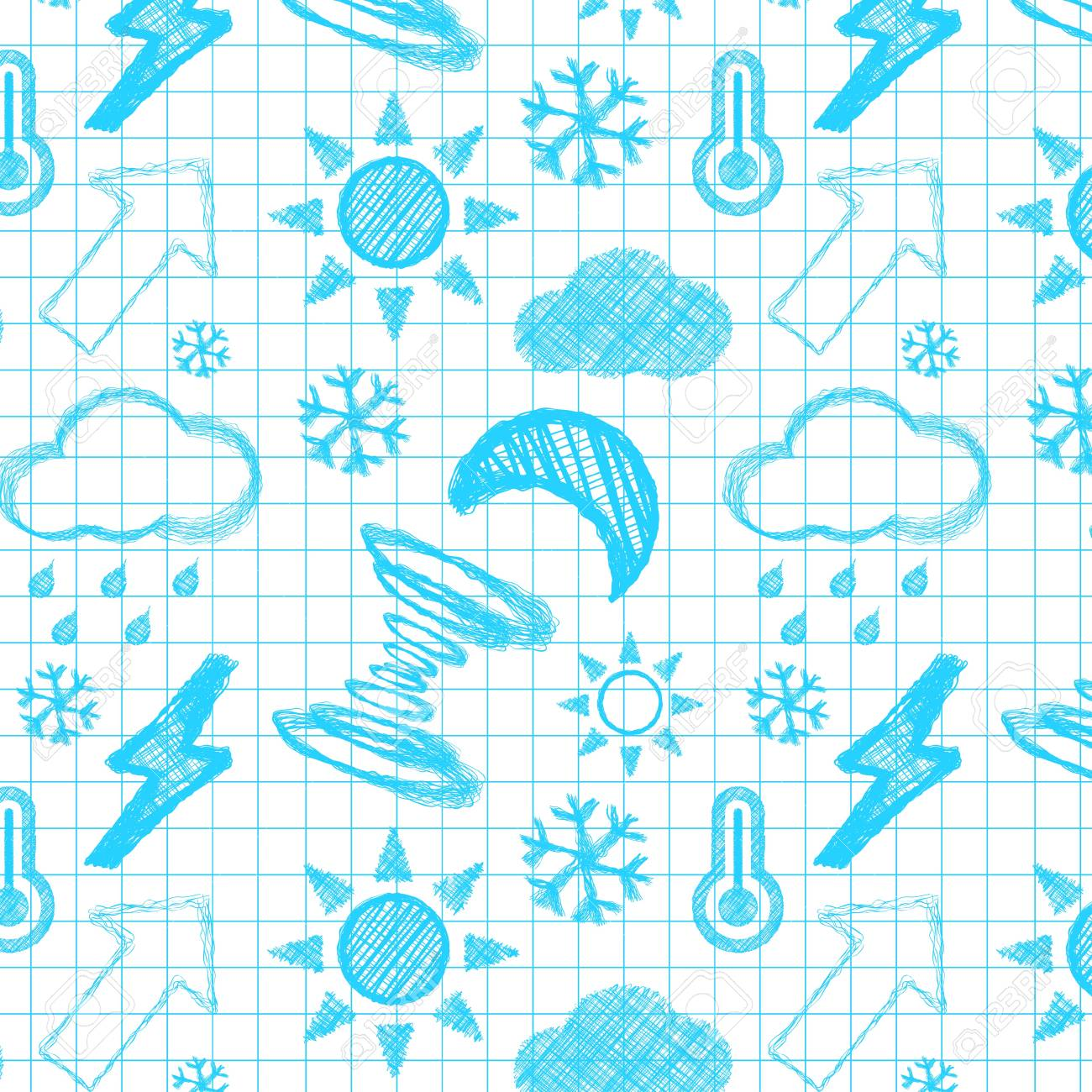 Weather hand drawn seamless pattern Stock Vector - 14791264