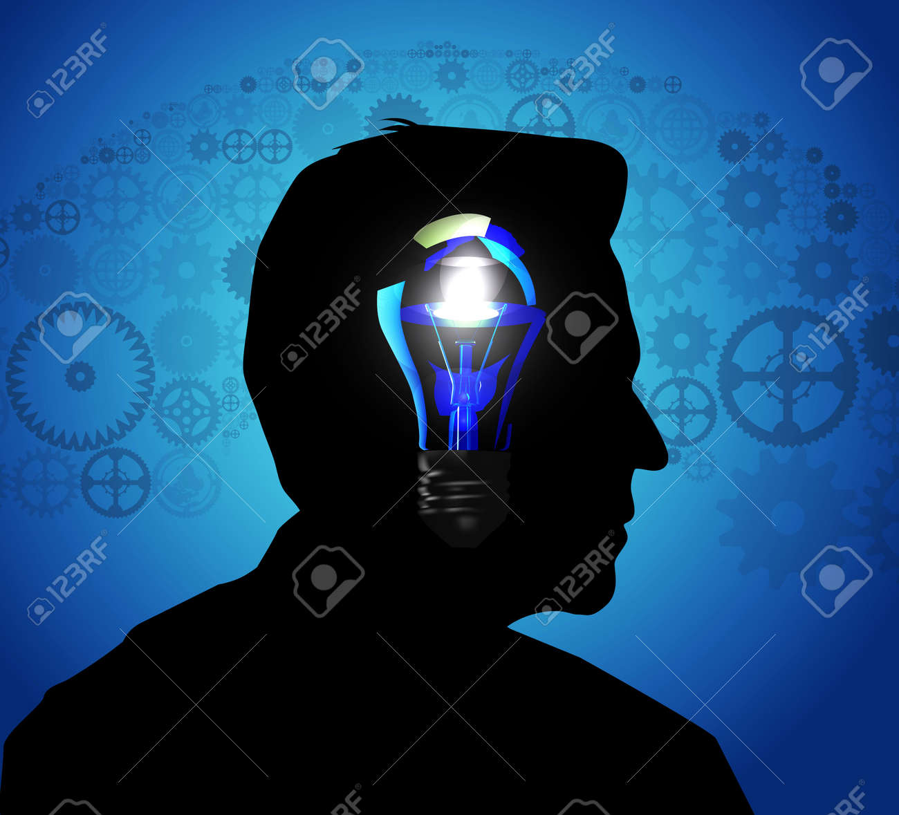 Silhouette of a man s head Stock Vector - 19095439