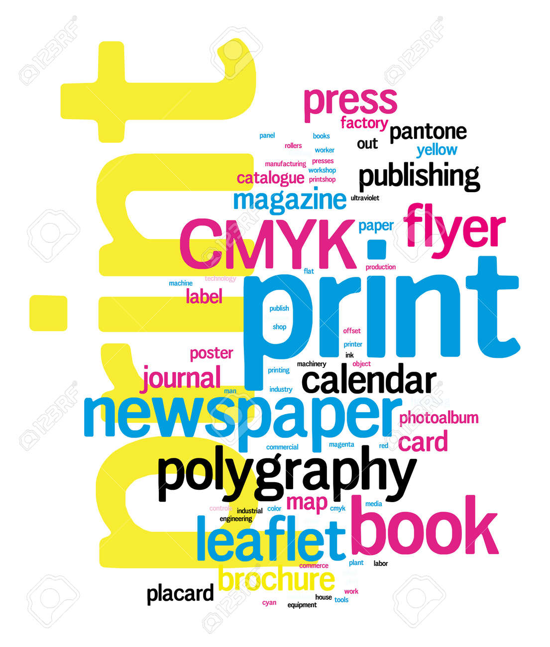Printing Word Cloud vector concept illustration on black Stock Vector - 21540451