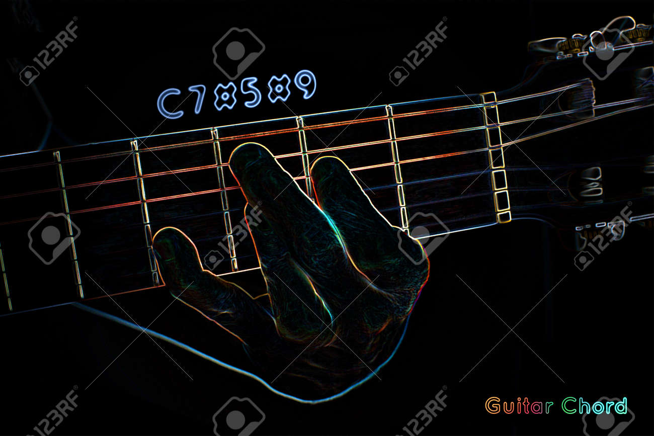 Guitar Chord On A Dark Background Stylized Illustration Of An