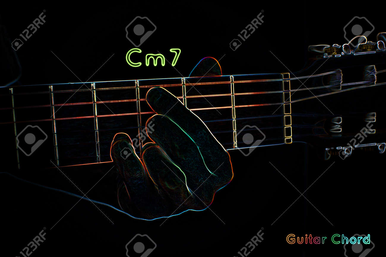 Cm7 guitar chord gallery guitar chords examples guitar chord on a dark background stylized illustration of an guitar chord on a dark background hexwebz Gallery