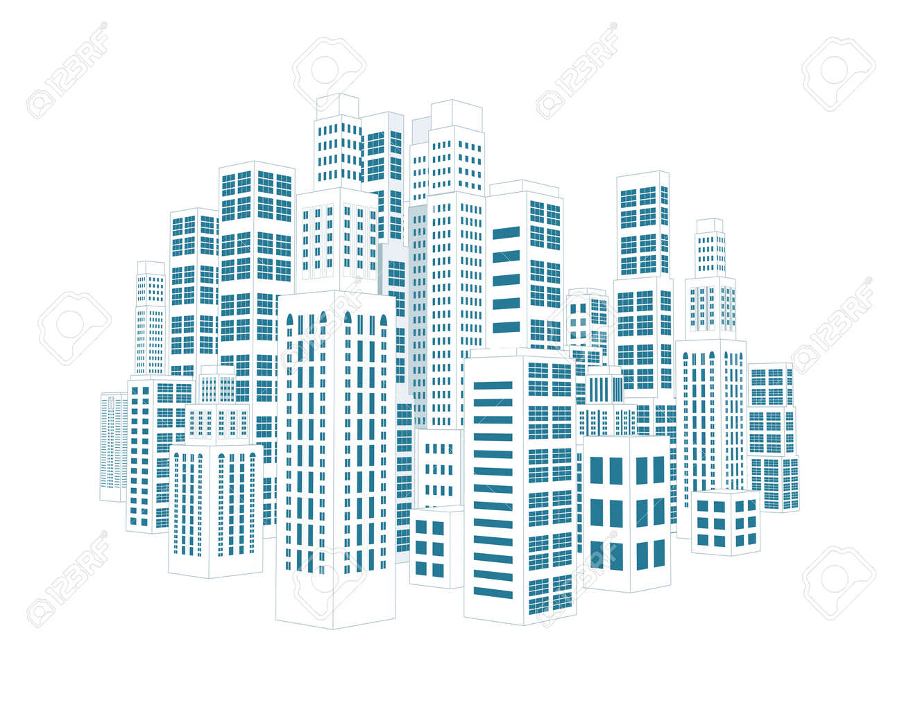 Vettoriale Città Con Edifici Tridimensionali E Grattacieli