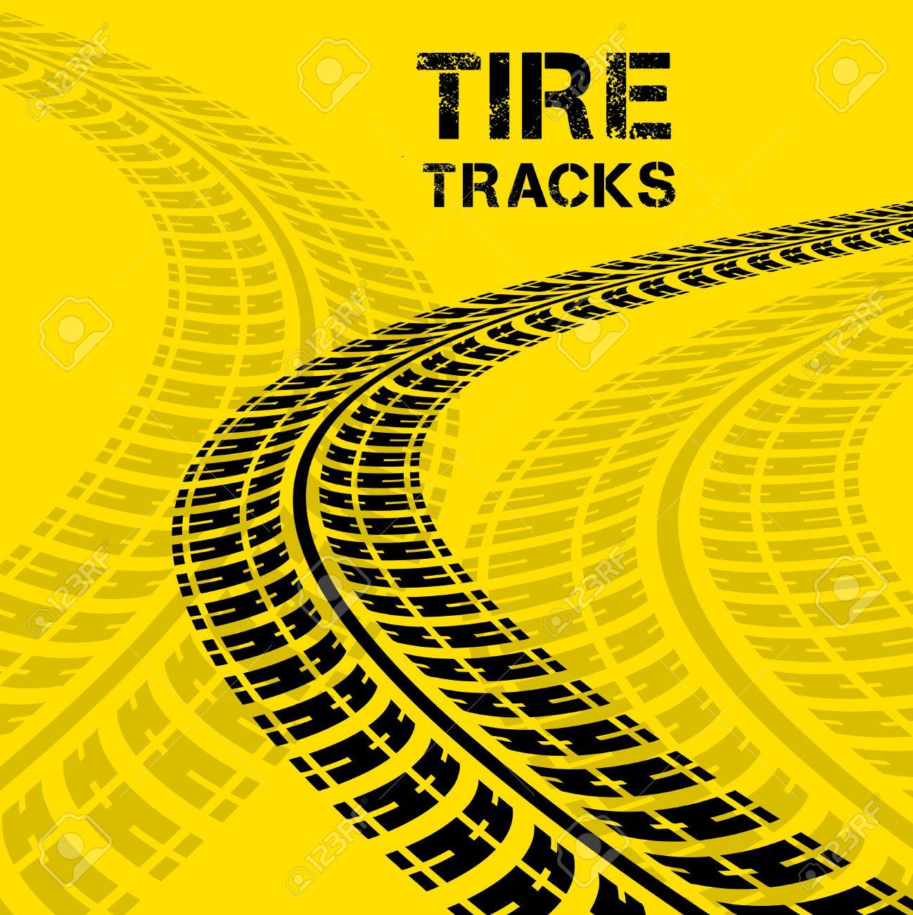 Tire tracks. Vector illustration on yellow background - 29429393