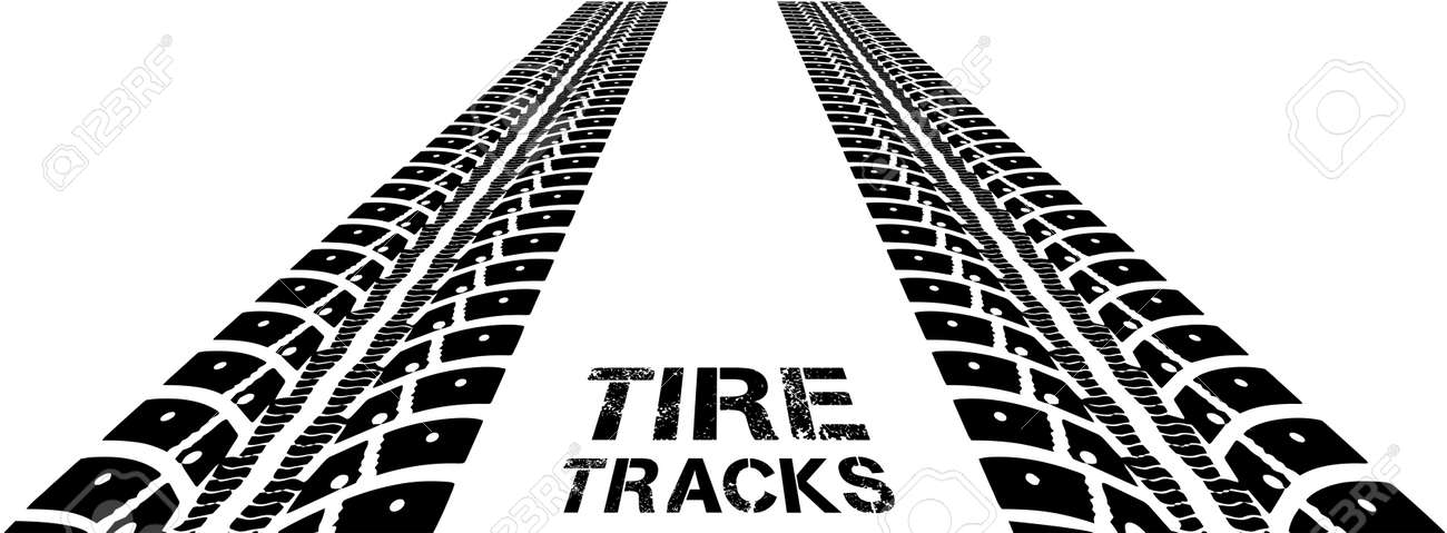 tire tracks. vector illustration on white background royalty free