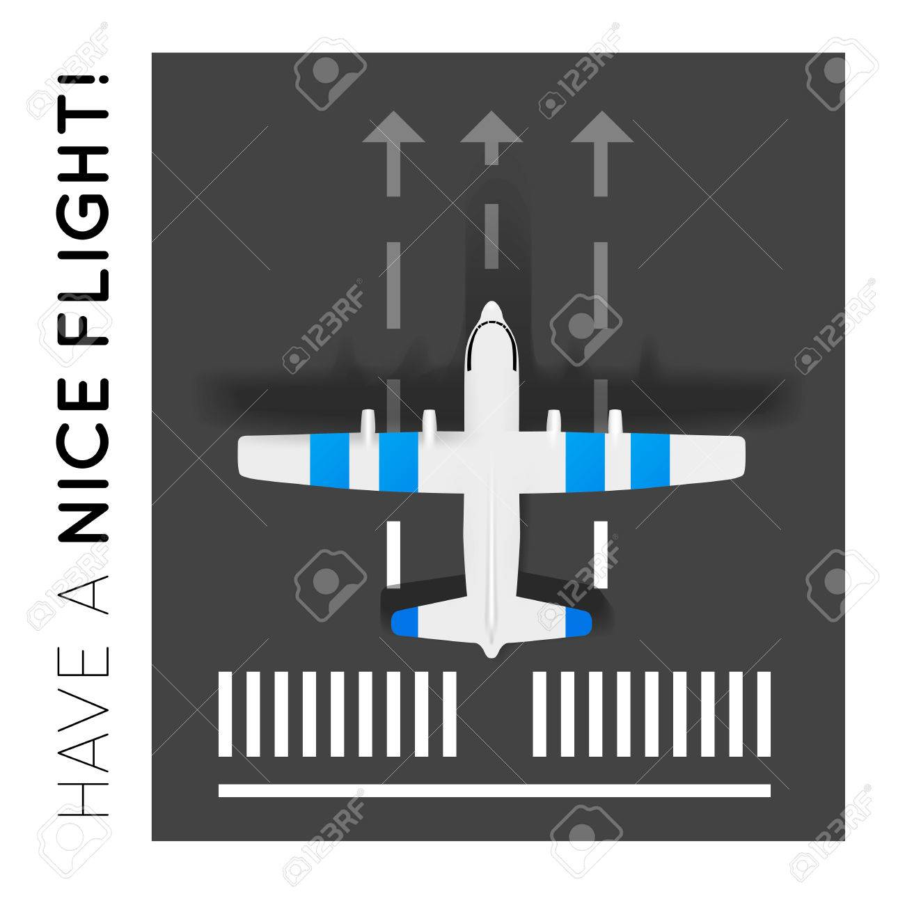 Plane on the runway at the airport Top view - 30151309