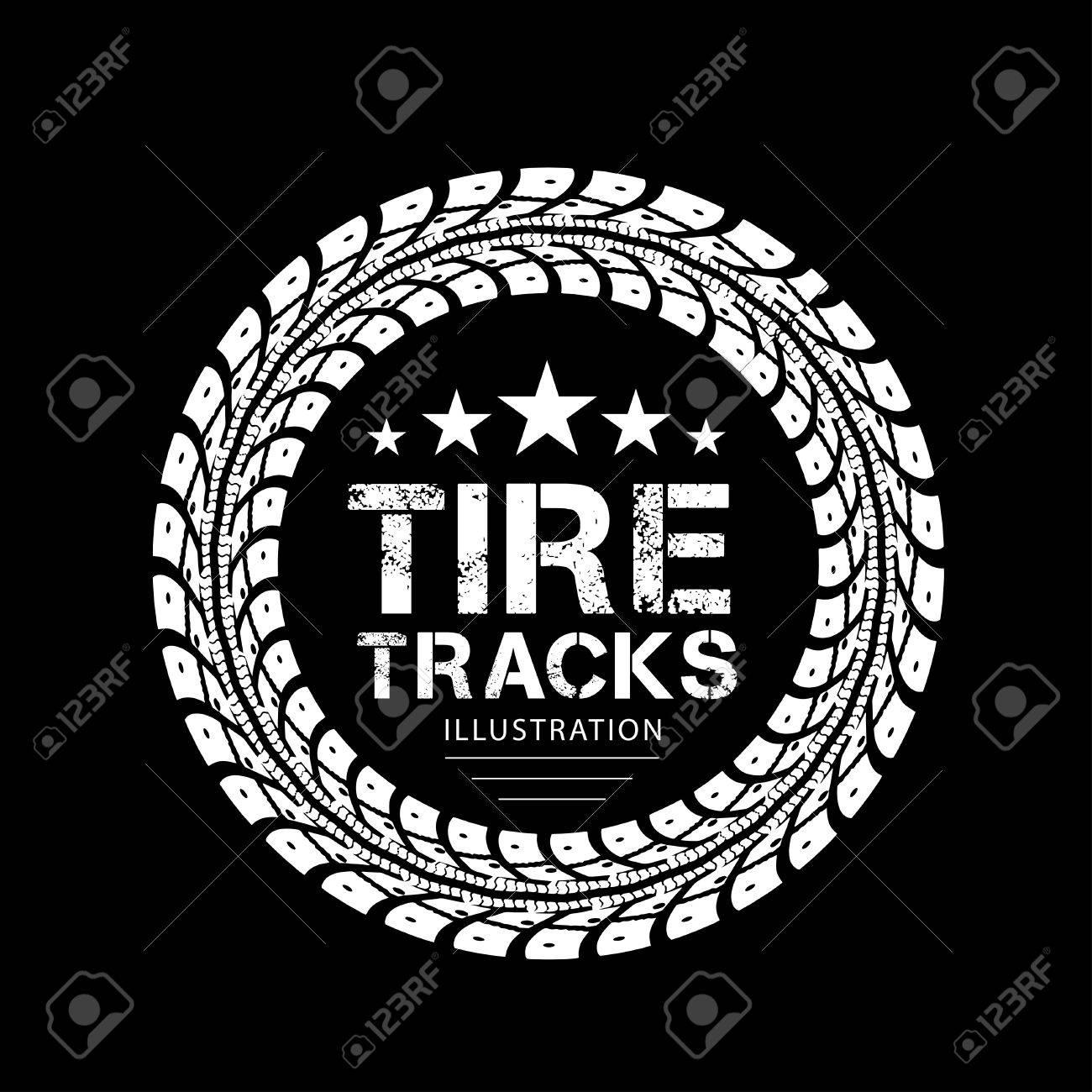 Tire tracks Illustration on black background - 30450934