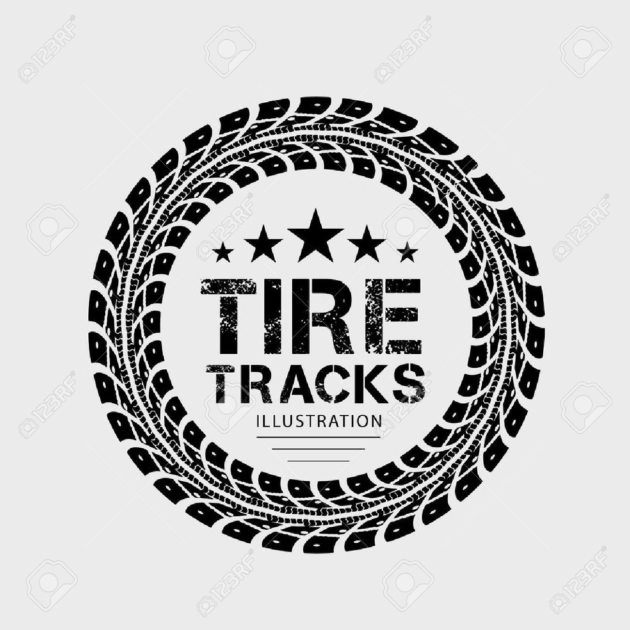 Tire tracks Illustration on grey background - 30450935