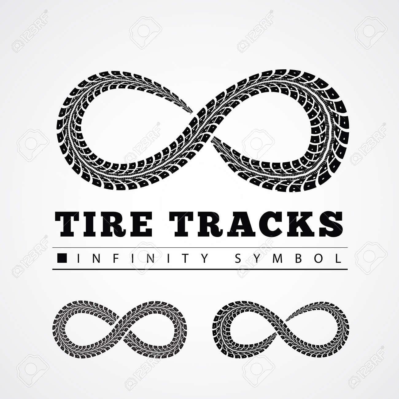 Tire Tracks in Infinity Form. Vector illustration - 35120964