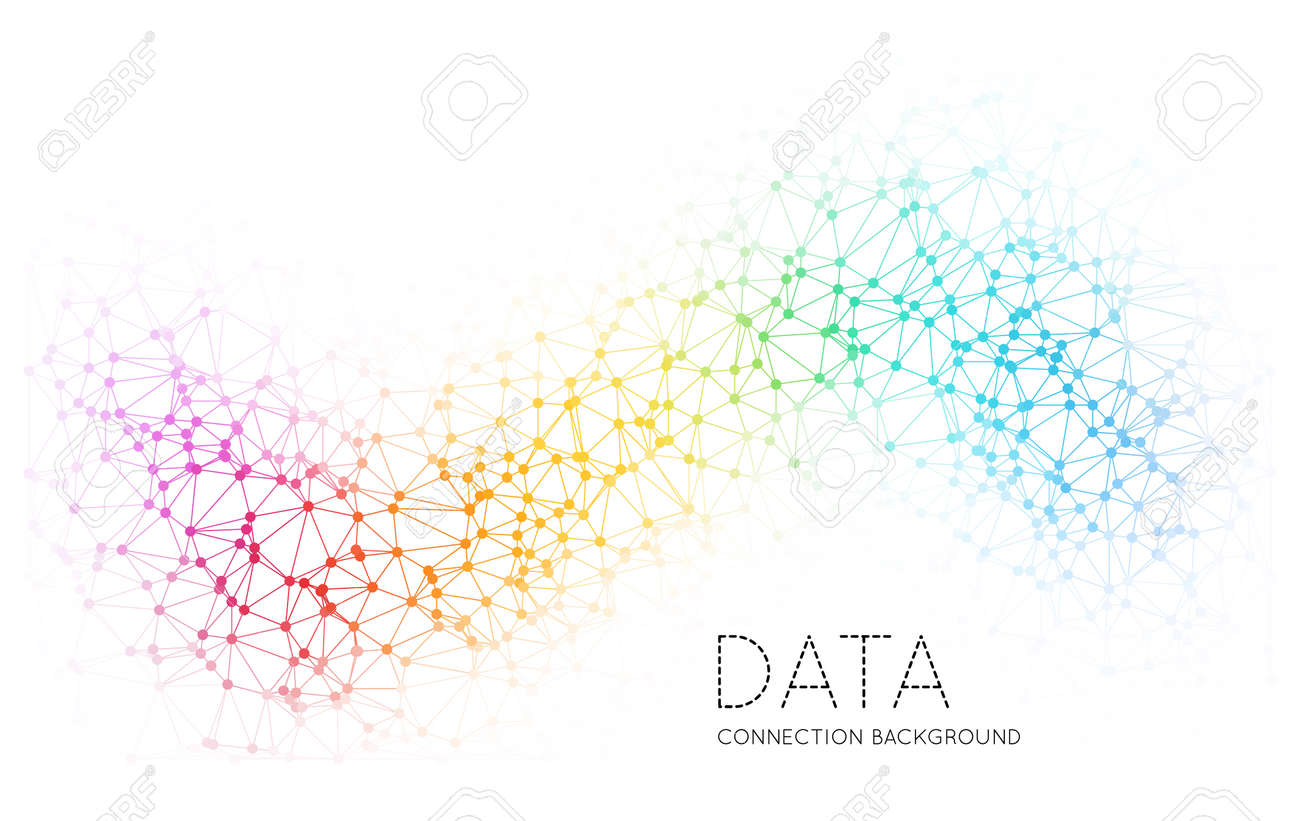 Dots with connections, triangles light background - 38614421