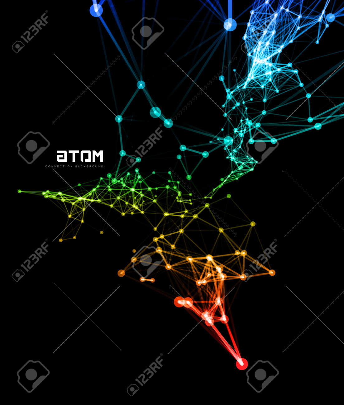 Abstract colorful network data connection. Vector technology background on black - 42098491