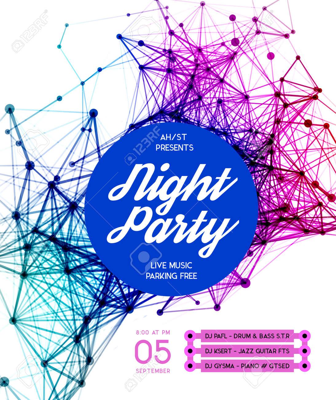 Noche Disco Party Plantilla Del Cartel De Fondo - Ilustración ...