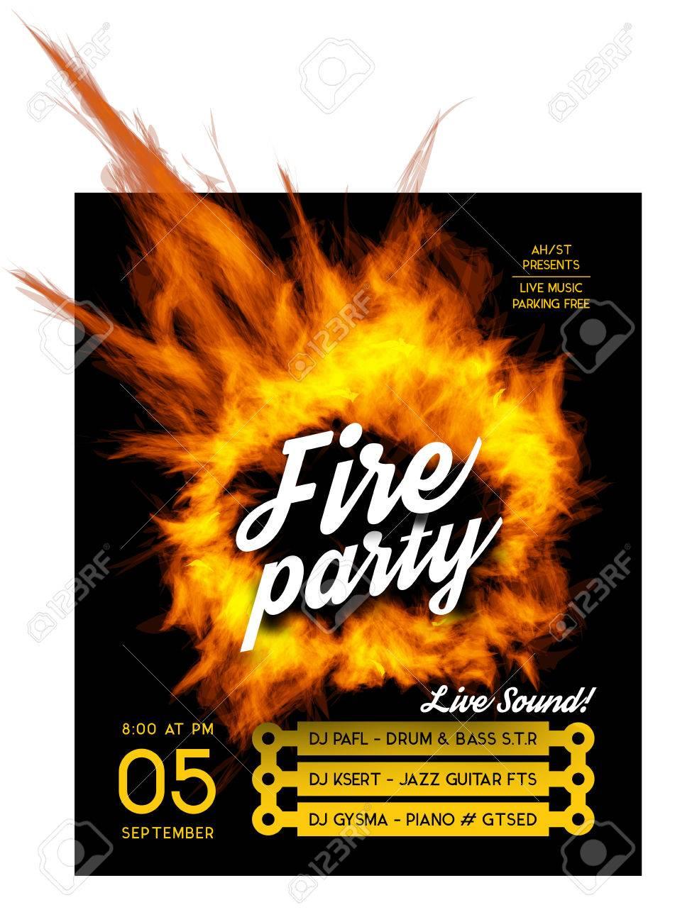 Fuego Plantilla Del Cartel Del Partido. Ilustración Del Vector Con ...