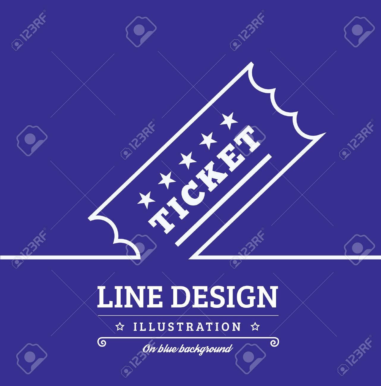 Vector Vintage Ticket tag outline thin symbol on blue background - 49484587