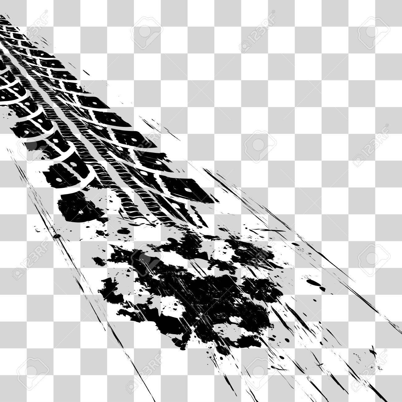 Tire tracks. Vector illustration onon checkered background - 51741330