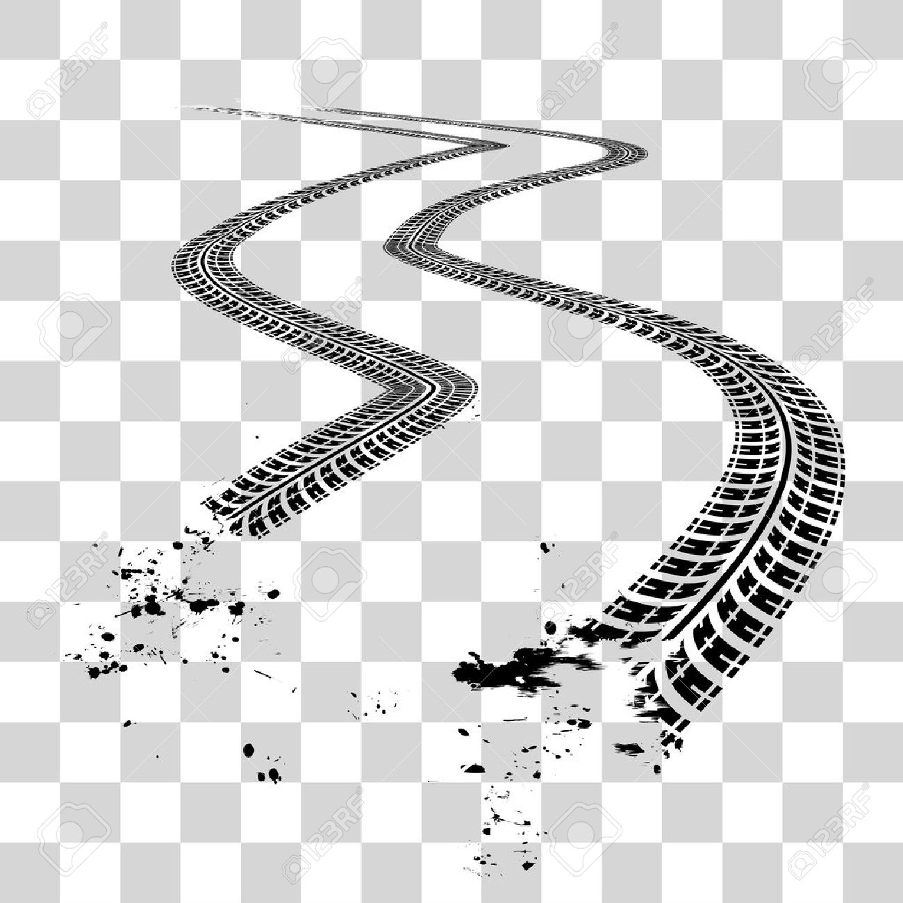 Tire tracks. Vector illustration on checkered background - 51741331