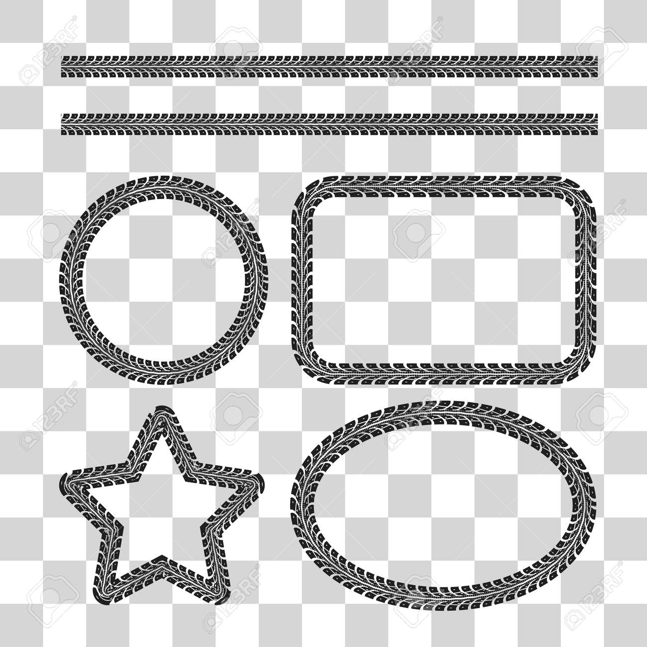 tire tracks frame set vector illustration on checkered background rh 123rf com Tire Track Border Clip Art Mud Tire Tracks Clip Art