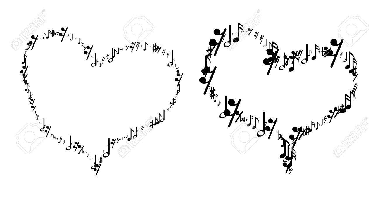 Las Notas Musicales En Forma De Corazón Ilustración Sobre Fondo