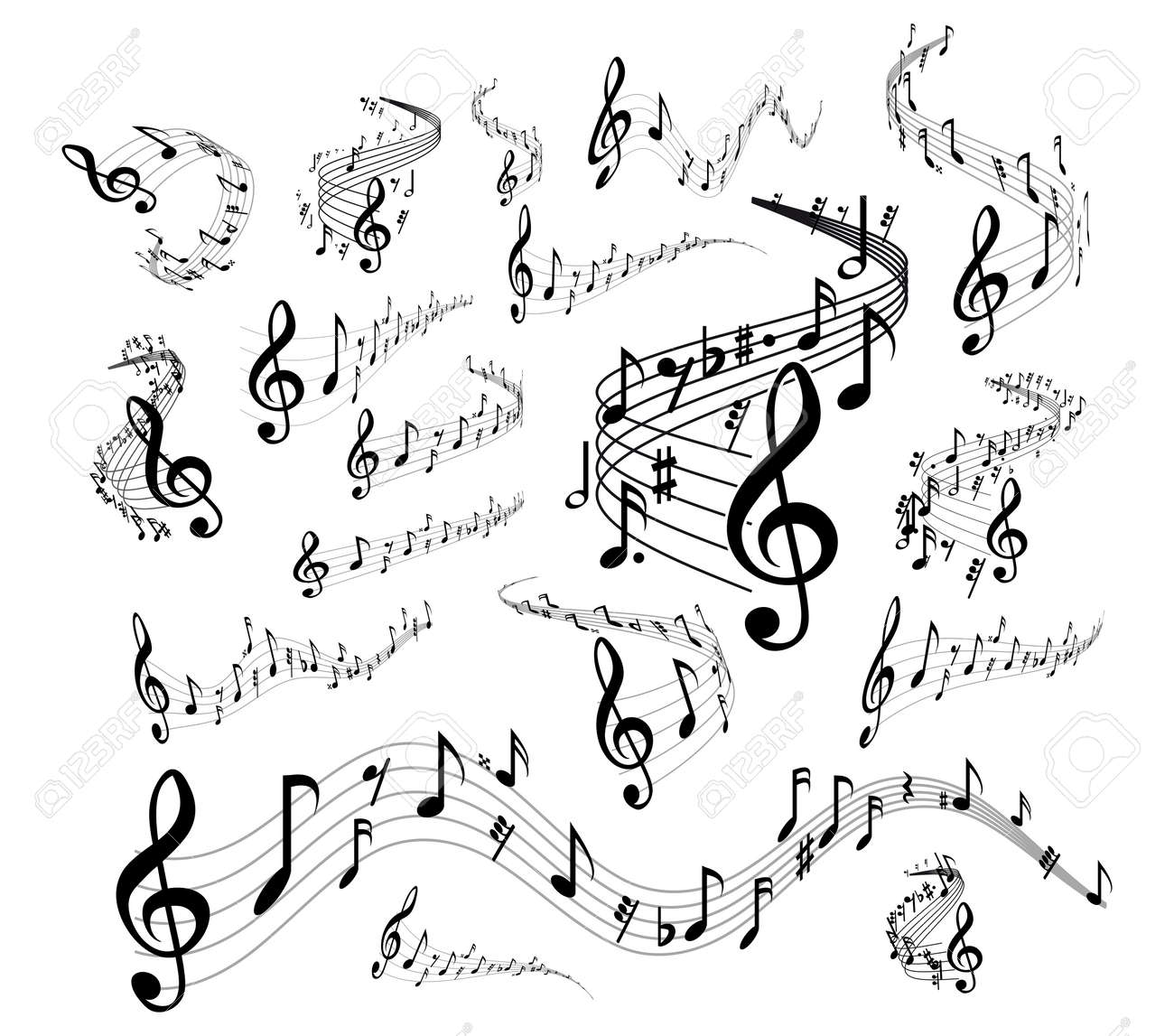Wavy music staves. set on white background - 53965132
